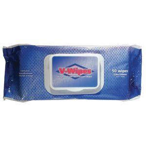 Whiteley V-Wipes Hospital Grade Disinfectant Wipes 50/pack.